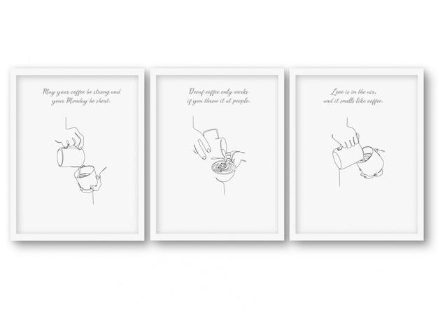 Una línea, juego de café, cartel colección de ilustraciones