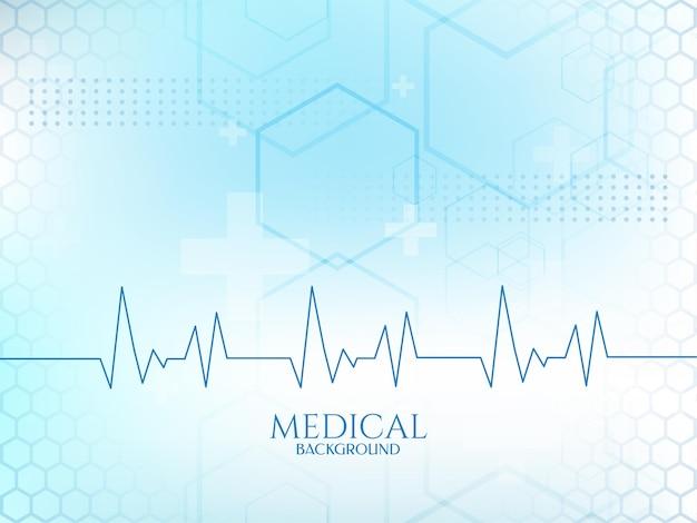 Línea de latido del corazón del cardiograma fondo médico de color azul suave