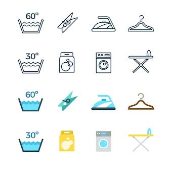 Línea de lavado de ropa doméstica y lavandería e iconos planos