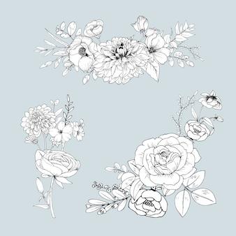 Línea linda flores aisladas. ramo dibujado a mano
