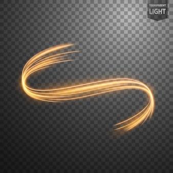 Línea de luz abstracta remolino de oro.