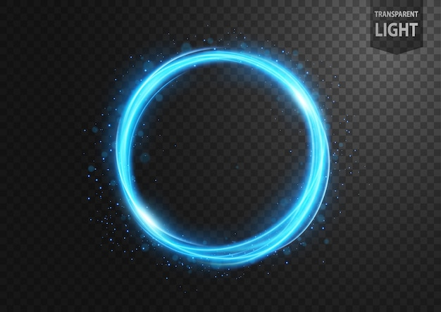 Línea de luz azul abstracta con chispas azules