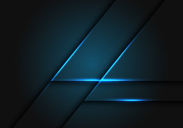 Línea de luz azul sobre fondo geométrico gris oscuro.