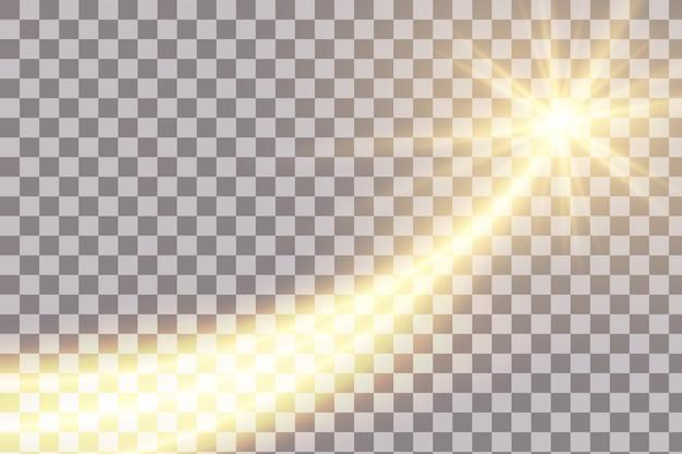 Línea de luz efecto remolino dorado.