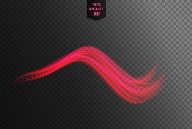 Línea de luz ondulada rosa abstracta con un fondo transparente