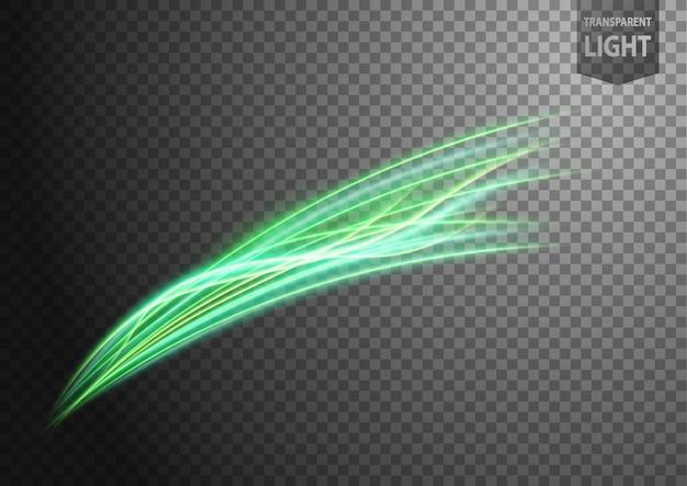 Línea de luz ondulada verde abstracta