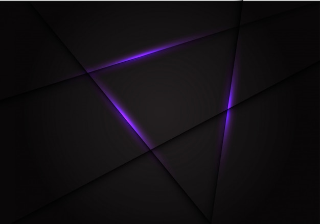 Línea de luz violeta cruz sobre fondo gris oscuro.