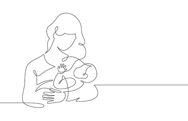 Línea madre y bebé. mamá abraza al niño. concepto de maternidad y recién nacido. mujer feliz sostiene la ilustración de vector de línea continua de niño pequeño. niño amante de los padres, diseño feliz del día de la madre para la tarjeta
