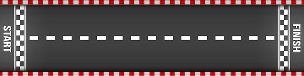 Línea de meta racing vista superior, kart, carretera de asfalto.
