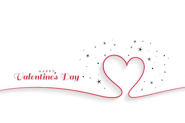 Línea mínima corazones fondo del día de san valentín