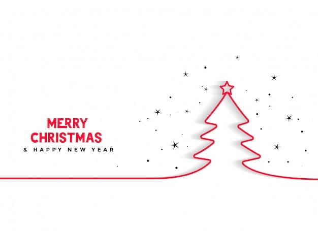 Línea mínima fondo de árbol de navidad