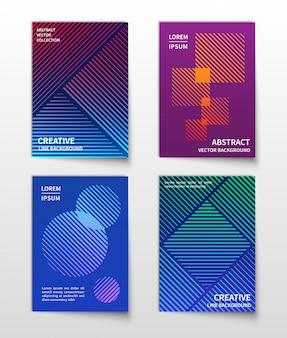 Línea minimalista de medios tonos dinámicos. conjunto de fondos modernos geométricos abstractos