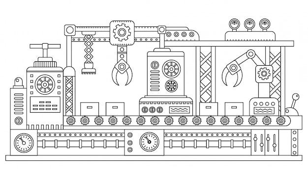 Línea de montaje industrial cajas de embalaje.