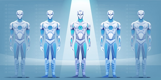 Línea de montaje de robot que produce cyborg en fábrica.