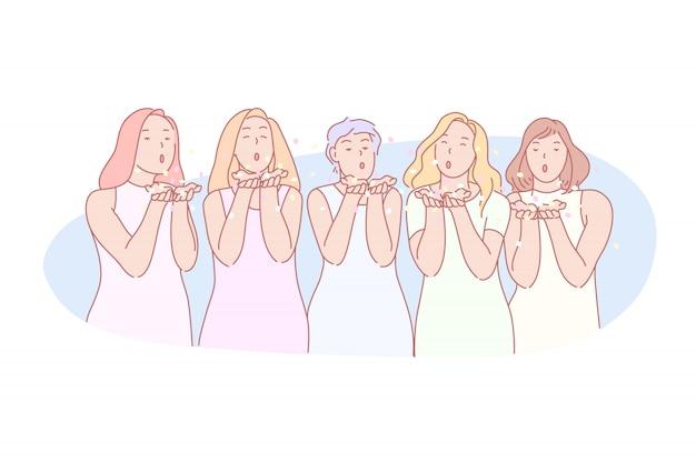 Línea de muchachas que envían una ilustración beso