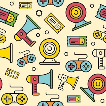 Línea multimedia iconos de patrones sin fisuras.