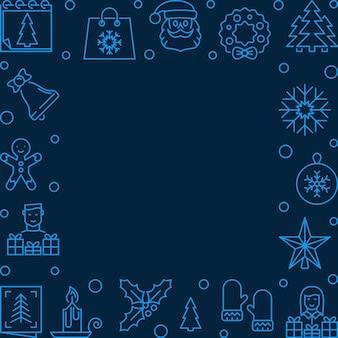 Línea de navidad marco cuadrado azul - fondo