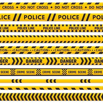 La línea negra y amarilla de la policía no cruza.