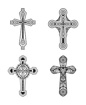 Línea negra ornamentada cruz cristiana conjunto de iconos. ilustración