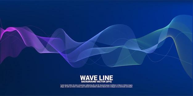 Línea de onda de sonido azul y verde curva sobre fondo oscuro.