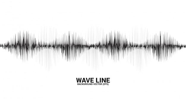 Línea de onda de sonido curva sobre fondo blanco.