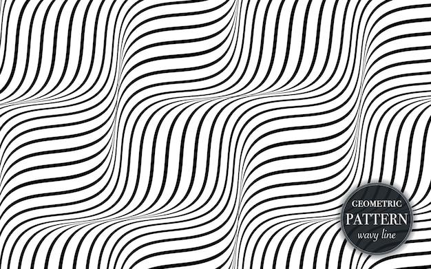 Línea ondulada abstracta de fondo geométrico