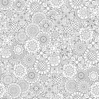 Línea ornamental patrón de flores.