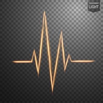 Línea de oro abstracta de la frecuencia cardíaca de la luz