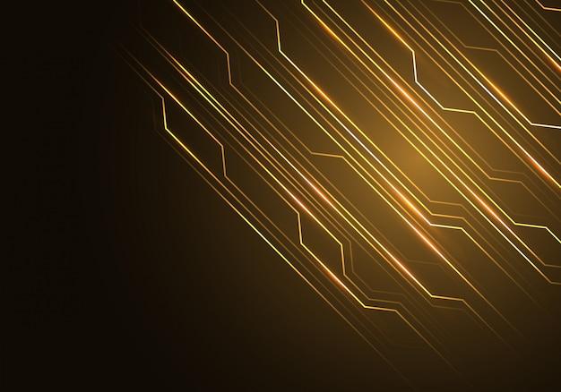 Línea de oro circuito de luz con fondo de espacio en blanco negro.