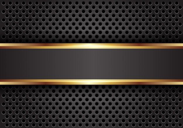 Línea de oro gris bandera sobre fondo de malla círculo oscuro.