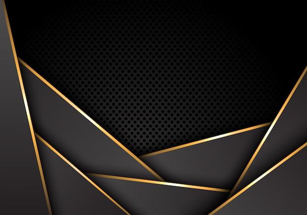 La línea de oro metálico gris se superpone con el fondo oscuro de la malla del círculo.