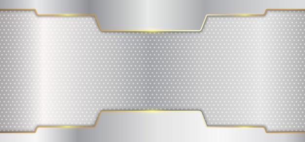 Línea de oro metálico plateado abstracto en estilo de lujo de fondo blanco.