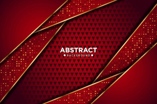 Línea de oro rojo oscuro abstracta que se superpone a formas geométricas con puntos de brillos fondo de tecnología futurista de lujo moderno