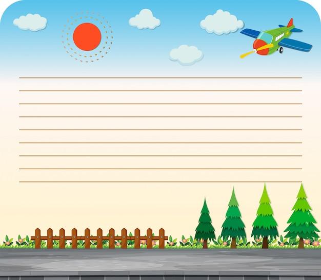 Línea de papel con parque y camino
