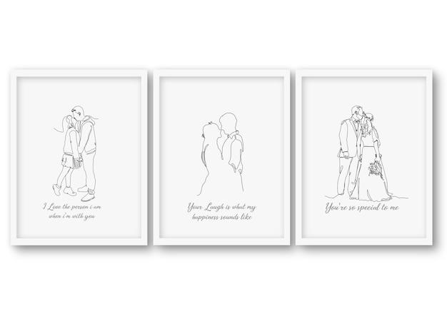 Una línea, pareja de novios, conjunto, cartel colección de ilustraciones
