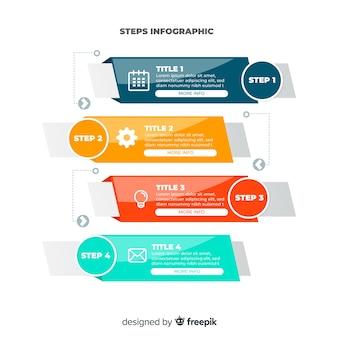 Línea pasos infografía diseño plano colorido