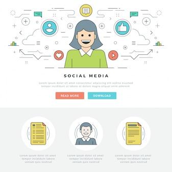 Línea plana concepto de medios de comunicación social y diseño de iconos de estilo de línea.