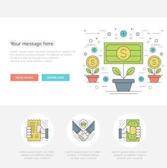 Línea plana concepto de negocio en línea ilustración vectorial.