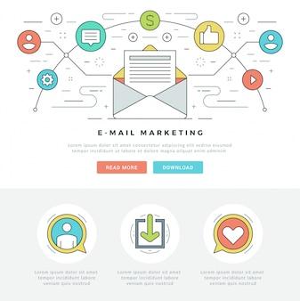 Línea plana correo electrónico concepto de marketing ilustración vectorial.