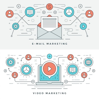Línea plana correo electrónico y video concepto de marketing ilustración.