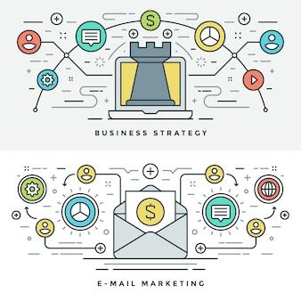 Línea plana de estrategia empresarial y marketing. ilustración.