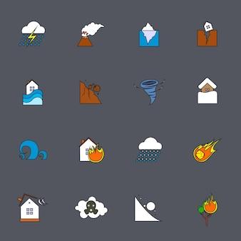 Línea plana de iconos de desastres naturales