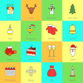 Línea plana de los iconos de navidad con presente ciervo muñeco de nieve aislado ilustración vectorial