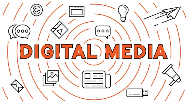 Línea plana de medios digitales