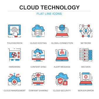 Línea plana nube tecnología iconos conjunto de conceptos