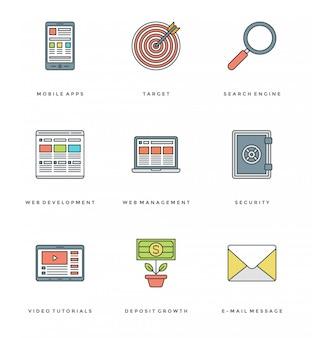 Línea plana simple conjunto de iconos. iconos de trazo lineales finos concepto de objetos esenciales.