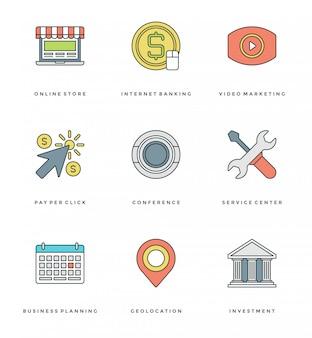 Línea plana simple conjunto de iconos. objetos esenciales de vector de trazo