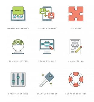 Línea plana simple conjunto de iconos. símbolos de objetos esenciales de trazo lineal fino