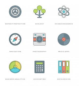 Línea plana simple conjunto de iconos. vector de trazo lineal fino símbolos de objetos esenciales.