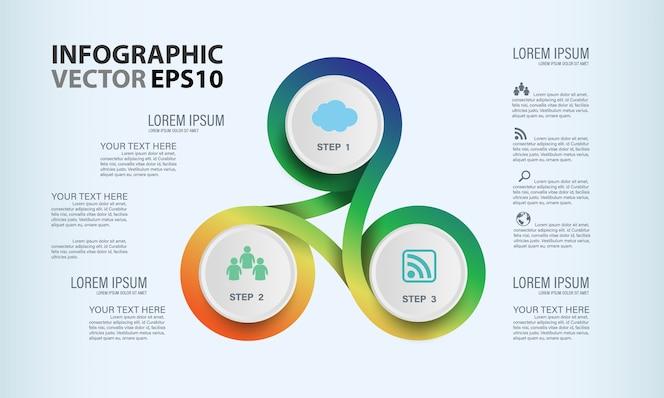 Línea de plantilla de infografía círculo colorido